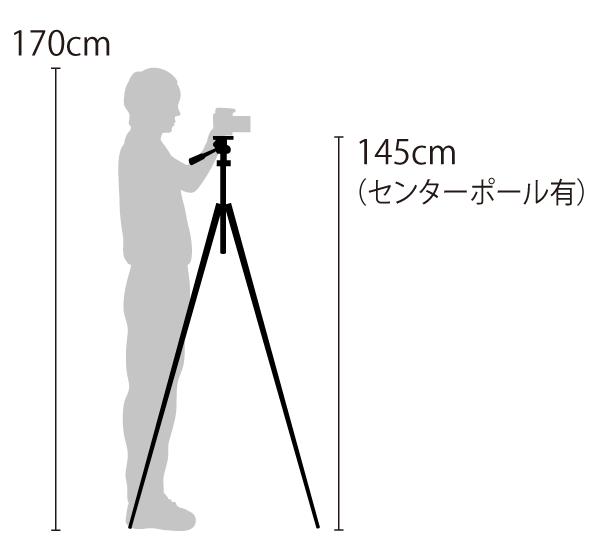 三脚の高さ センターポールを使った身長差