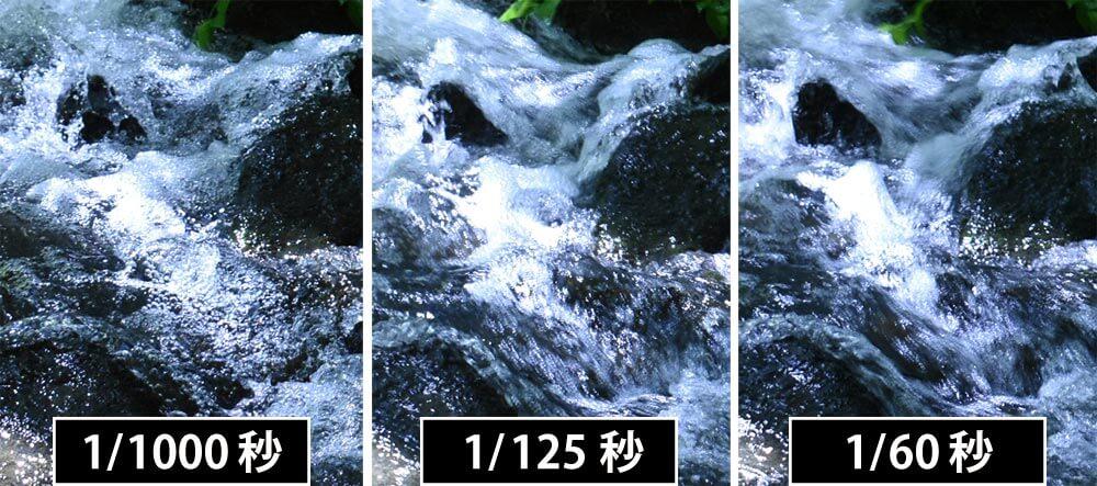 水の流れシャッタースピード比較