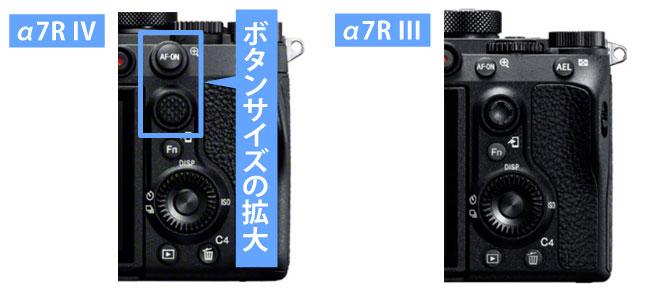α7R IVとα7R IIIボタンサイズ拡大