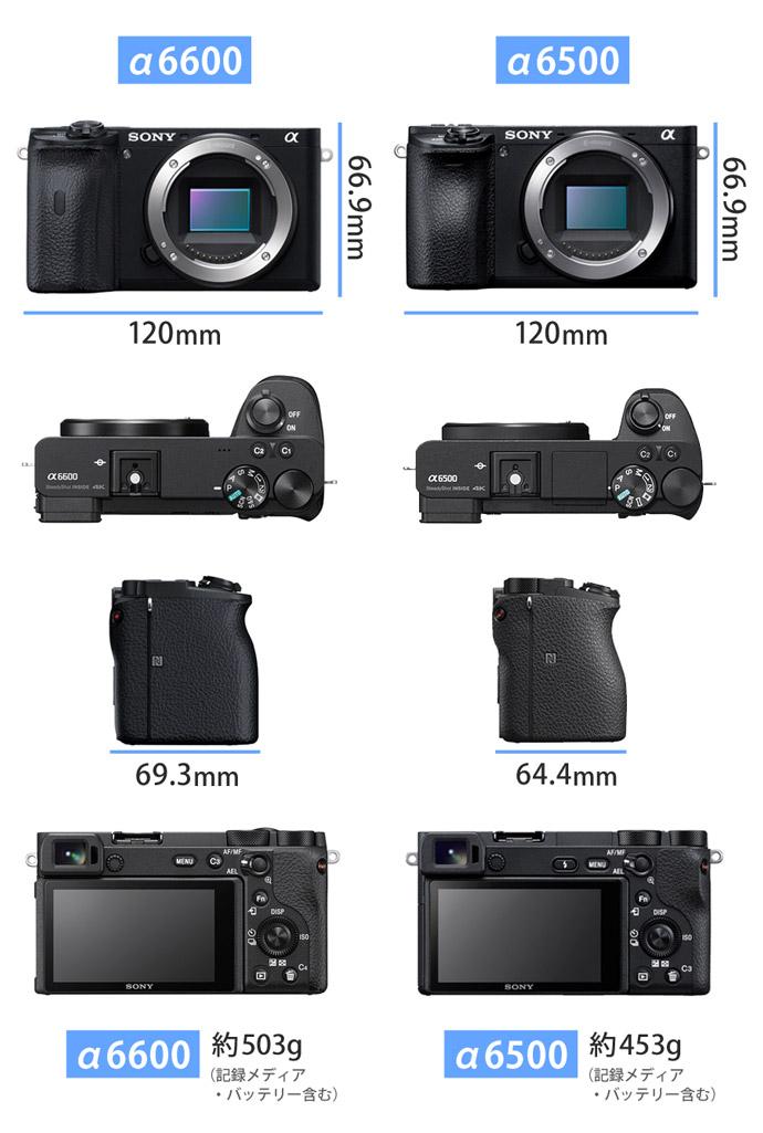 α6600とα6500の外観写真サイズ比較
