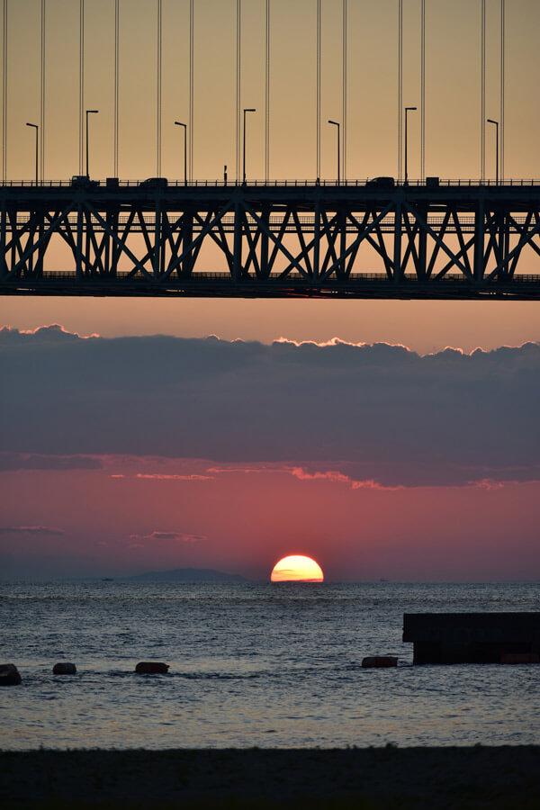 明石海峡大橋を夕日写真撮り方