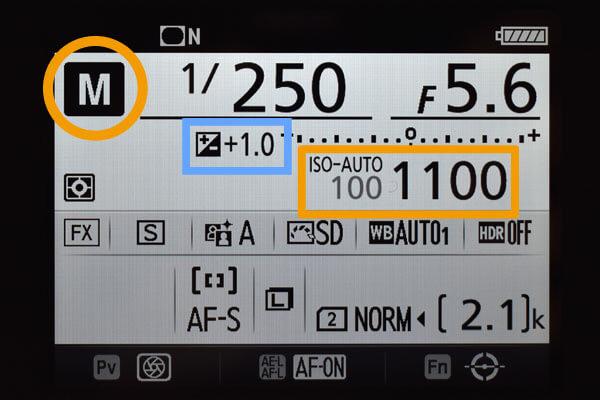 マニュアルモード-ISOオート-露出補正
