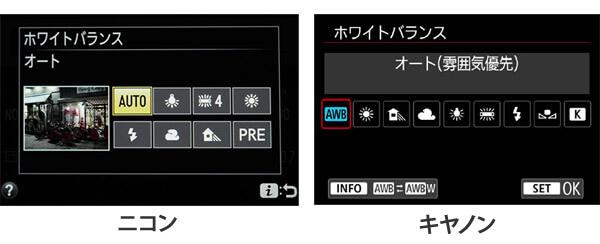 ホワイトバランス設定画面-ニコン-キヤノン