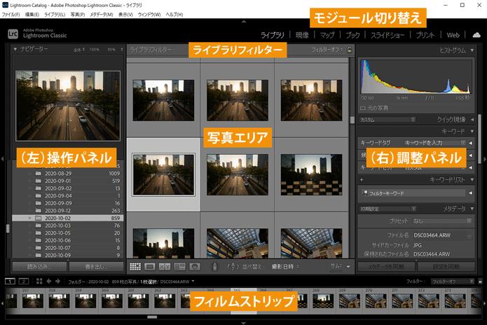 Lightroom Classicライブラリモジュール画面